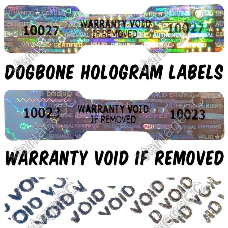 DOGBONE Security Hologram Stickers NUMBERED, 45mm x 10mm, Warranty Labels VOID in Business, Office & Industrial, Packing & Posting Supplies, Address Labels | eBay