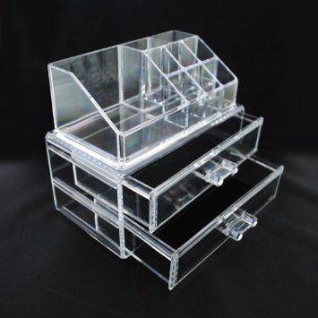 Luxury Acrylic Cosmetic Organizer Makeup Box 2 Drawers 1063*** Top and Bottom Set