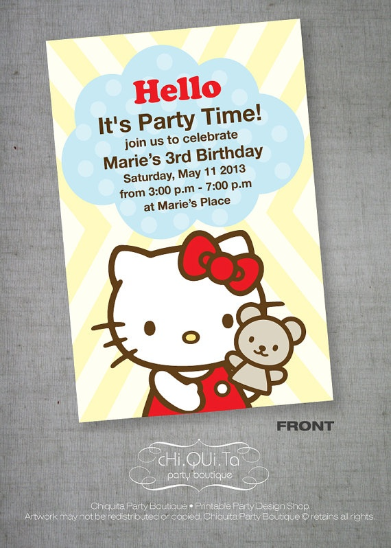 Printable Hello Kitty Invitation Card PDF by ChiquitaPB on Etsy, $5.76