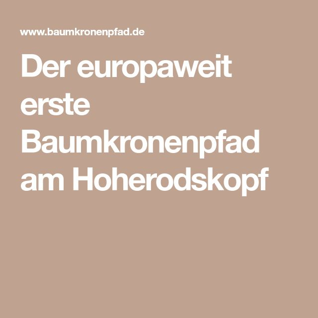 Der europaweit erste Baumkronenpfad am Hoherodskopf