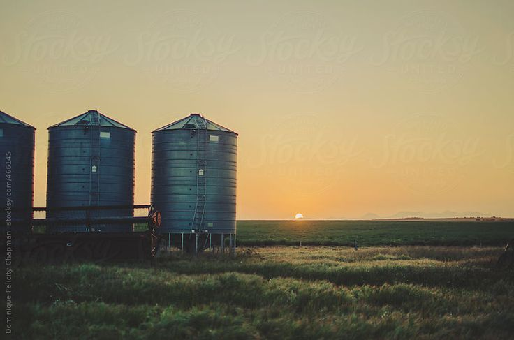 Silos next to setting sun on Australian farm by DominiqueFelicityPhotography | Stocksy United