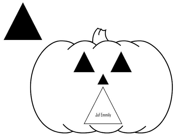 Pompoen driehoek - afdrukken op oranje papier (Juf Emmily)