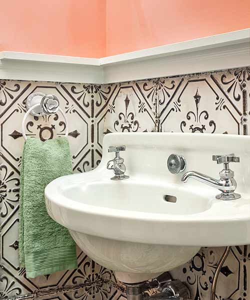 Evoking tin-tile ceilings in Victorian-era houses, patterned metal also looks lovely on walls. Sold in 24-by-24-inch panels, it's perfect for creating 4-foot-high wainscoting. | Photo: Sam Oberter for Greensaw Design & Build | thisoldhouse.com