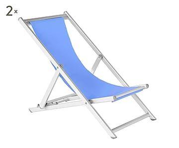 Set de 2 tumbonas plegables Beach - azul