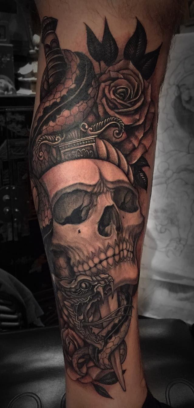 Tatouage Tete De Mort Japonais Sur Molet Pour Homme Tattoo