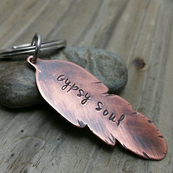Gypsy Soul  Copper Keychain  Feather Keychain  by DenisesCraftRoom