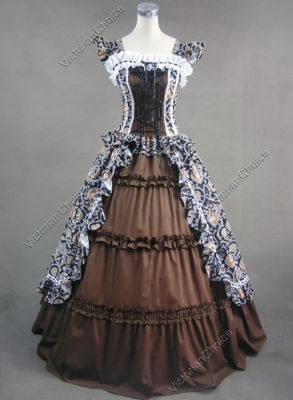 Victorian Gothic Cotton Dress Ball Gown Prom Steampunk Punk 085 S