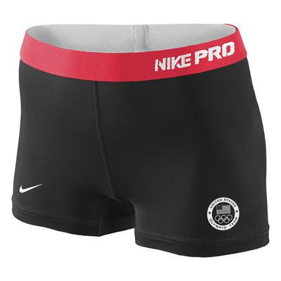 Women's Nike Black/Red Team USA Pro Compression Shorts