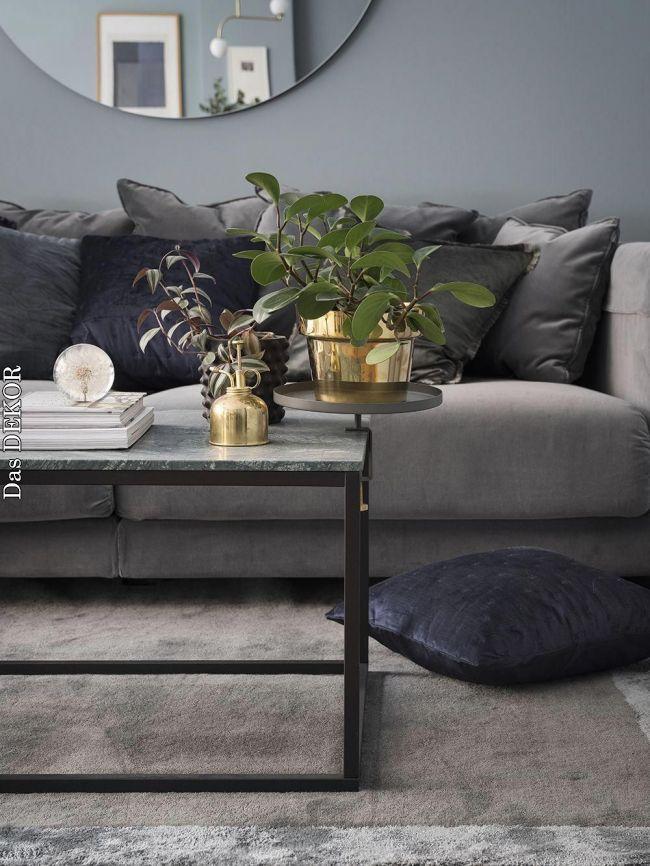 Grey Velvet Sofa From Ikea Green Marble Coffeetable Big Round Mirror Sammetssoffa Marmorbord Ru Velvet Sofa Living Room Living Room Grey Living Room Green