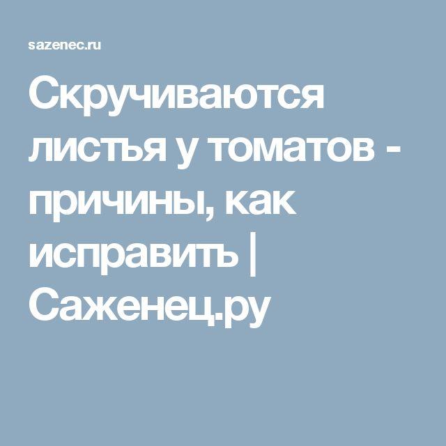Скручиваются листья у томатов - причины, как исправить | Саженец.ру