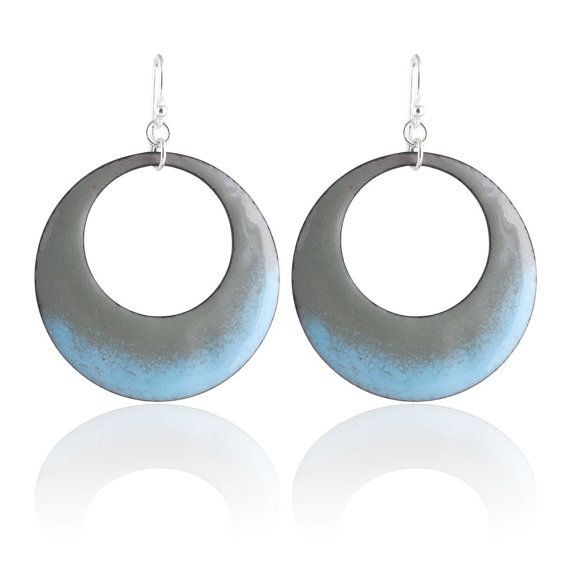 Blue Mod Circle Enamel Earrings