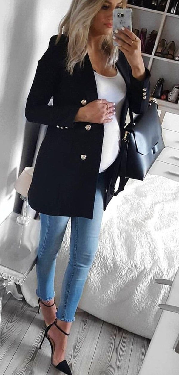 #winter #outfits black button-down coat and blue denim skinny jeans   – Pullover Jakets