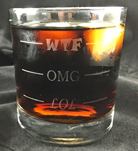 LOL-OMG-WTF Funny Rocks Glass - Finally a Rocks Glass for Every Mood! 11 oz Libbey Highball Glass - Humorous Gift or Conversation Starter