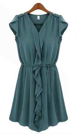 Dark Blue Sleeveless Ruffled Dress