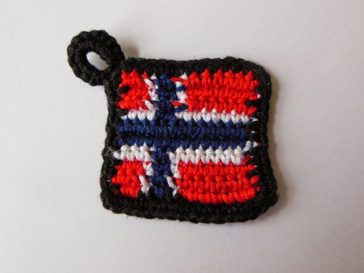 deborah haakt Noorse vlag crochet norwagian flag tapestry