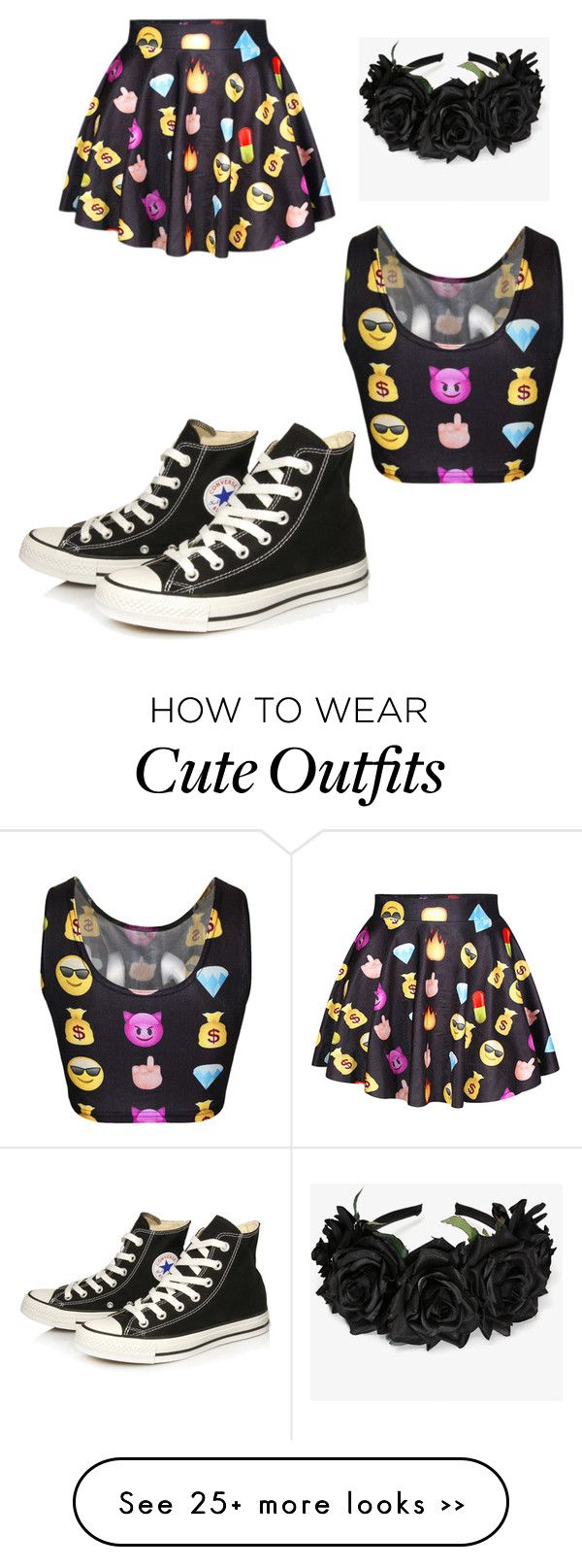 """Outfit 67 - Emoji Queen"" by derpygurl on Polyvore featuring Converse"