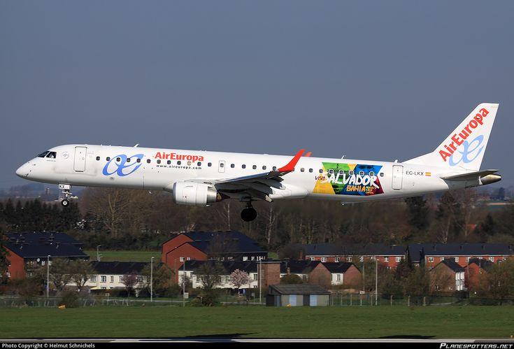 Air Europa (ES) Embraer ERJ-195LR (ERJ-190-200 LR) EC-LKX aircraft, with the sticker ''visit Salvador Bahia=capital of the Brazilian State of Bahia'' on the airframe, landing at Belgium Liege International Airport. 09/04/2016.