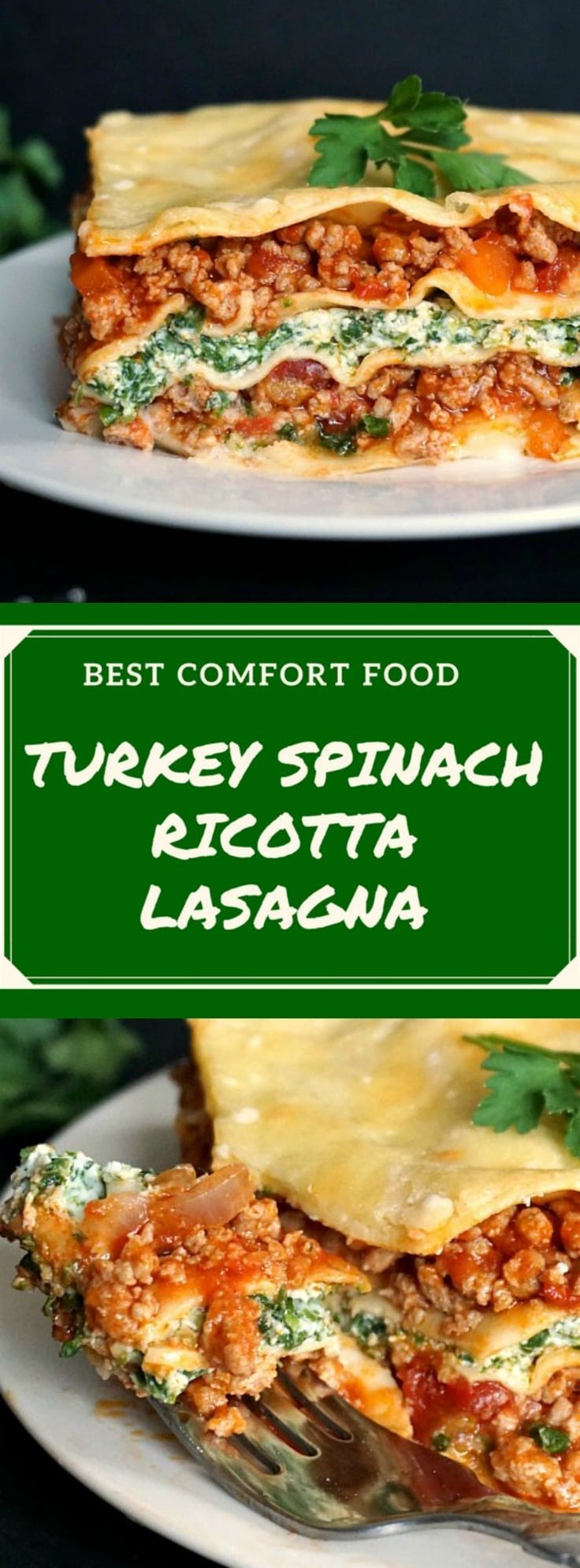 Turkey spinach lasagna recipe with ricotta, healthy and comforting, my take on one of Italy's best recipes. Comfort food at its best! #groundturkey, #turkeyrecipes, #groundturkey , #lasagna