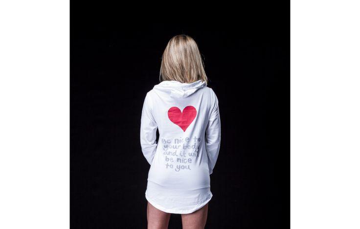 Hoodie Heart White - Női szabadidő felső - FitDress női fitnesz sportruházati Webáruház