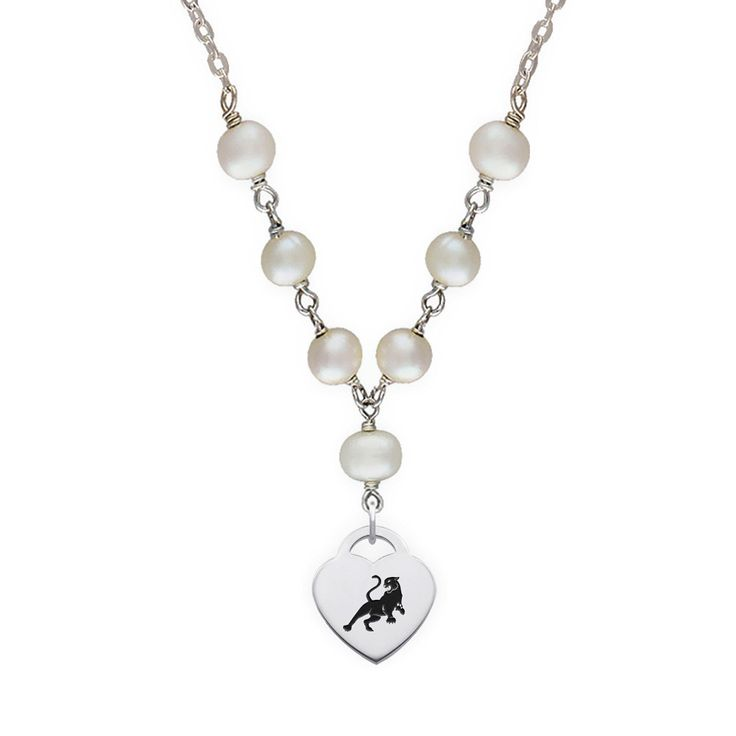 Sigma Lambda Gamma Symbol Tin Cup Pearl Necklace With Heart Charm