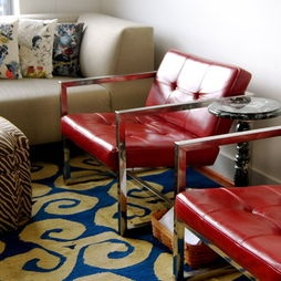 Living Room Retro Industrial Design.....love the red and chrome armchairs