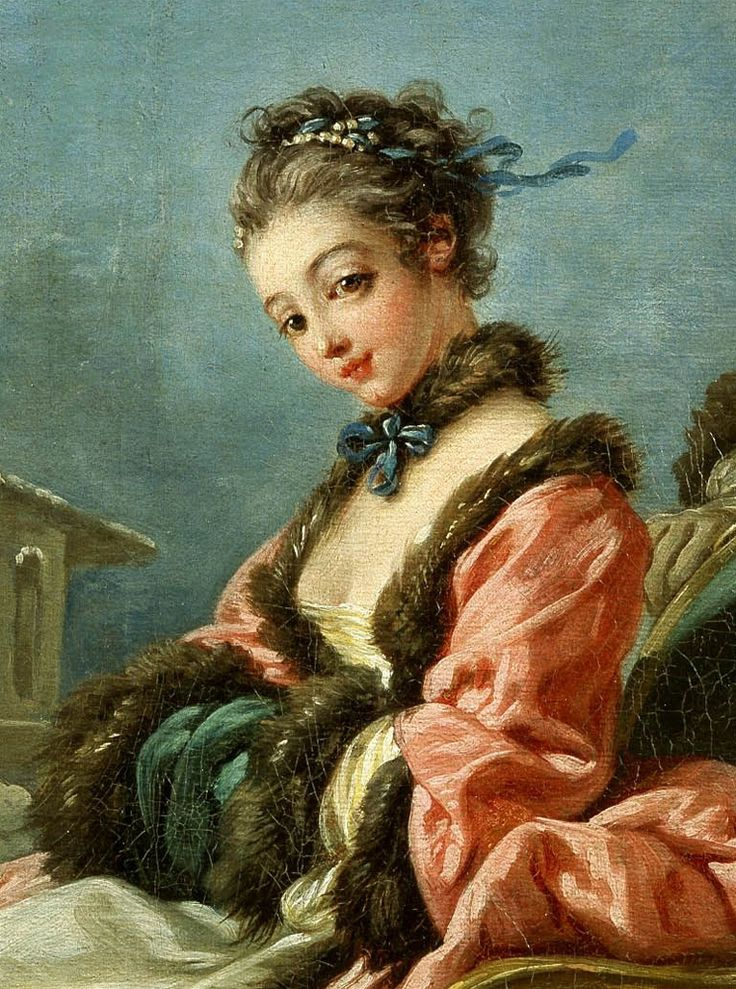 ▴ Artistic Accessories ▴ clothes, jewelry, hats in art - François Boucher | The Four Seasons: Winter, 1755