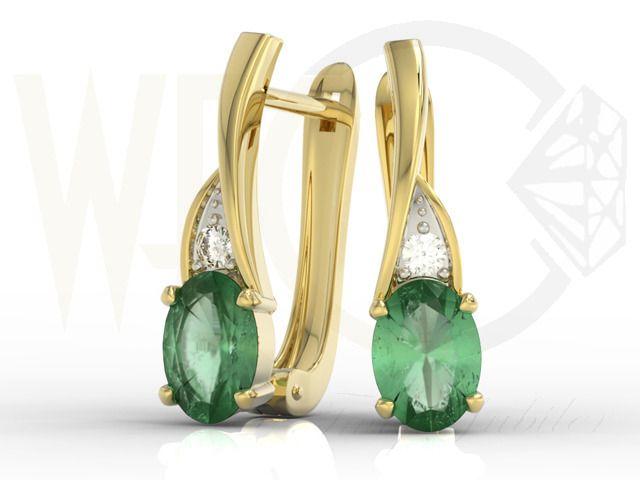 Kolczyki z żółtego złota ze szmaragdami i diamentami/ Earrings made from yellow gold with diamonds and emeralds #earring #jewellery #gold #gift