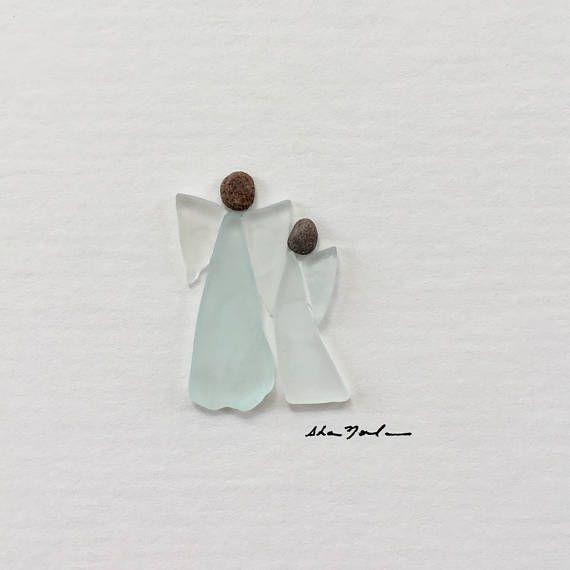 Ursprünglichen zwei Engel Pebble Kunst 5 von 5 Mini ungerahmt