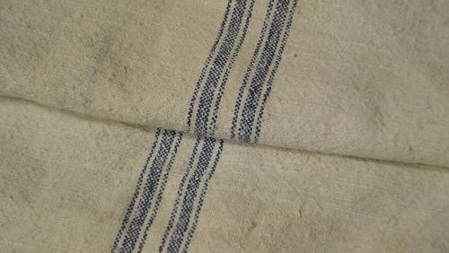Antique European Feed Sack GRAIN SACK Blue Stripes #5208