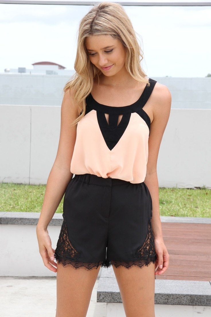 tank top with sexy but modest collar  high-waisted shorts with lace (inspiration)