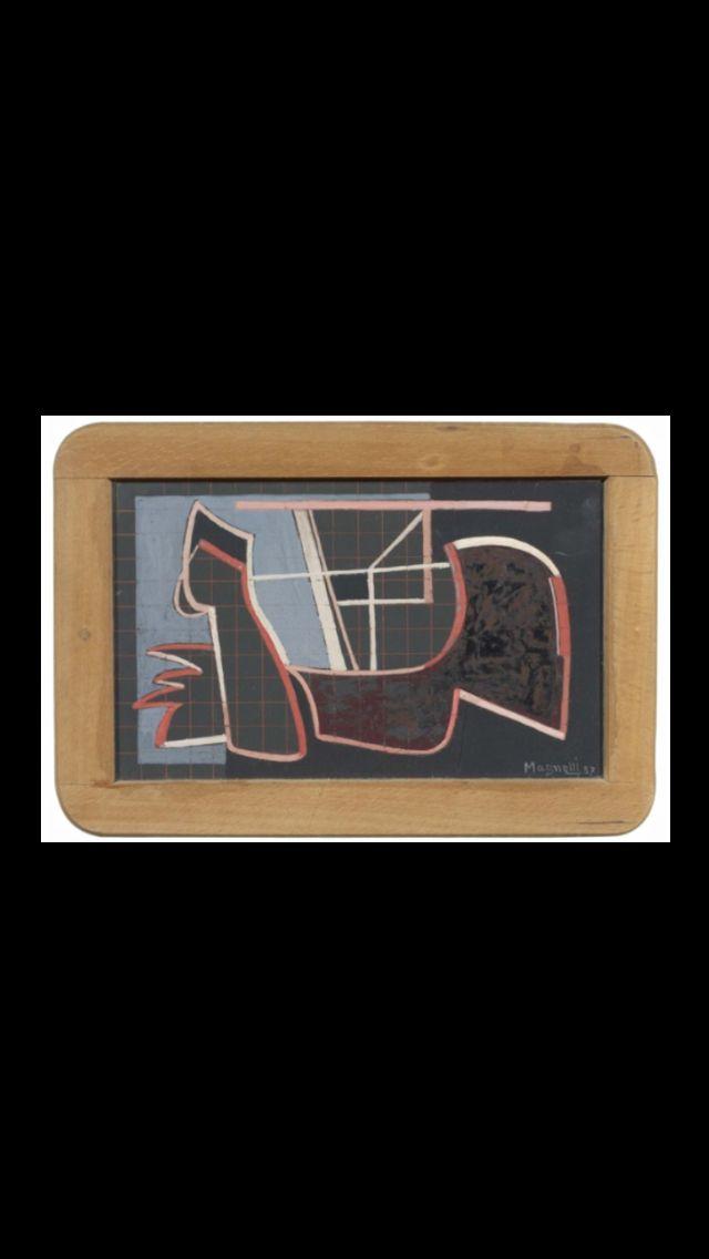 """Alberto Magnelli - """" Senza titolo """", 1937 - Mixed media on slate - 16,7 x 24,5 cm"""