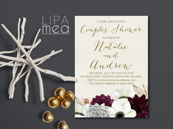 Couples Shower Invitation Printable, Floral Couples Shower Invitation, Boho Couples Shower Invitation, Bohemian Invitation, Succulent Invite - pinned by pin4etsy.com