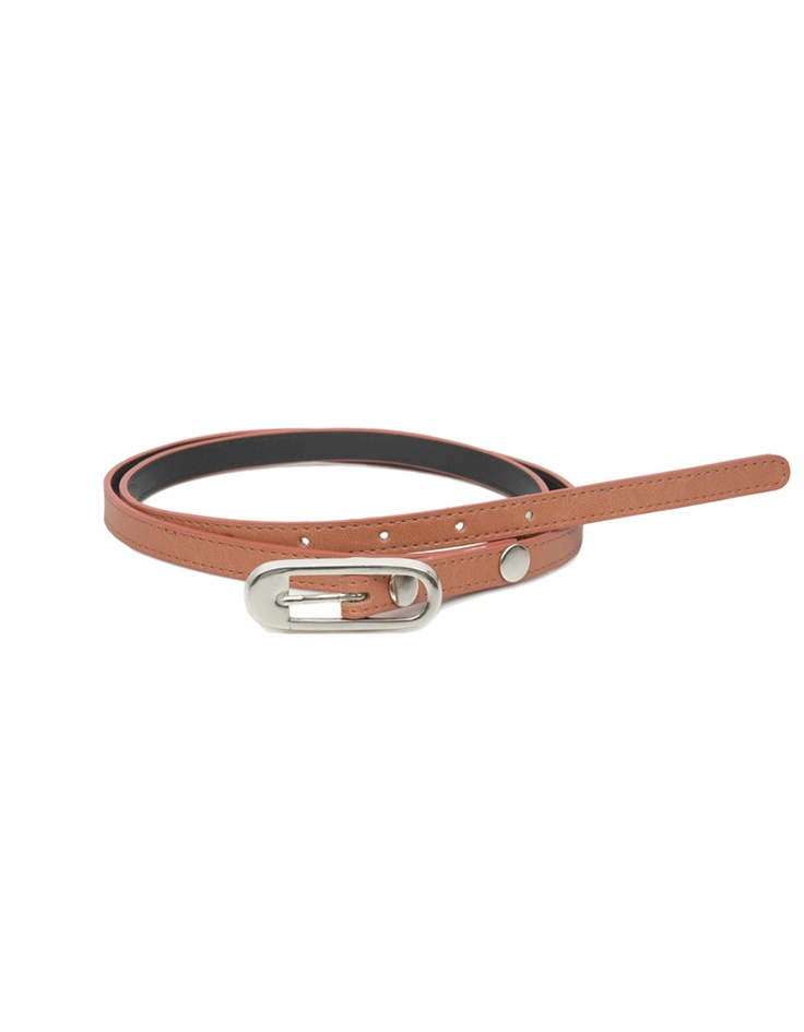 A slender tan belt for a boho chic look by Baggit.