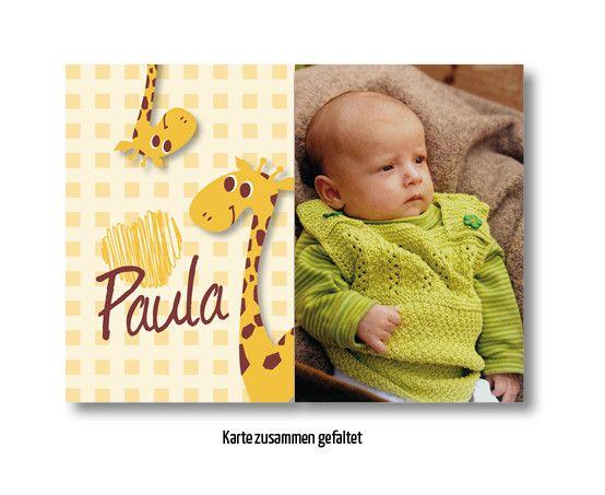 Einladungskarten   Geburtskarte Giraffe   Karte Geburt Fensterfalz   Einu2026
