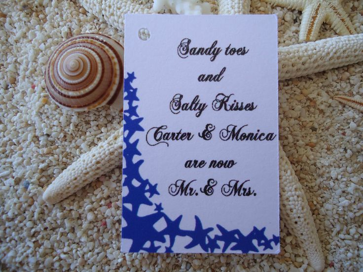 10 White Gift Tags Wedding Favour Bomboniere Personalised Nautical Starfish n3