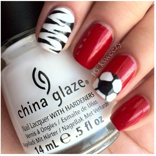 soccer nails - Google Search - 18 Best MLS Orlando City Lions Soccer Club Nail Art Images On