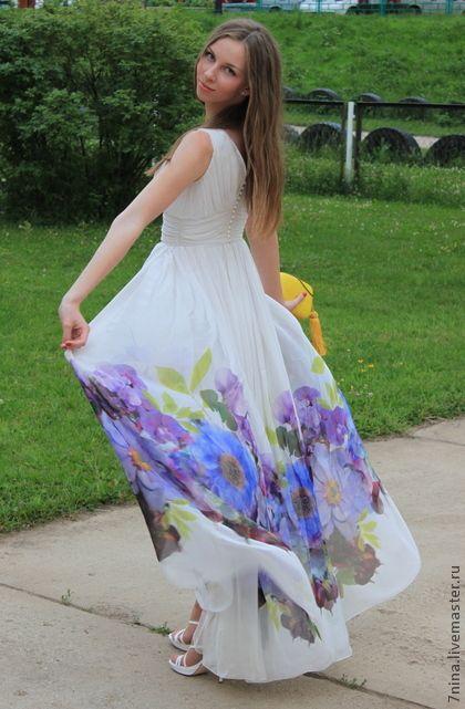 Платье шифон желтый купон цветы малиновые