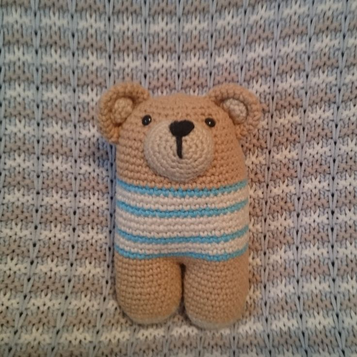 Crochet two-legged bear, amigurumi toy, squeezable teddy bear by CrochetAga on Etsy