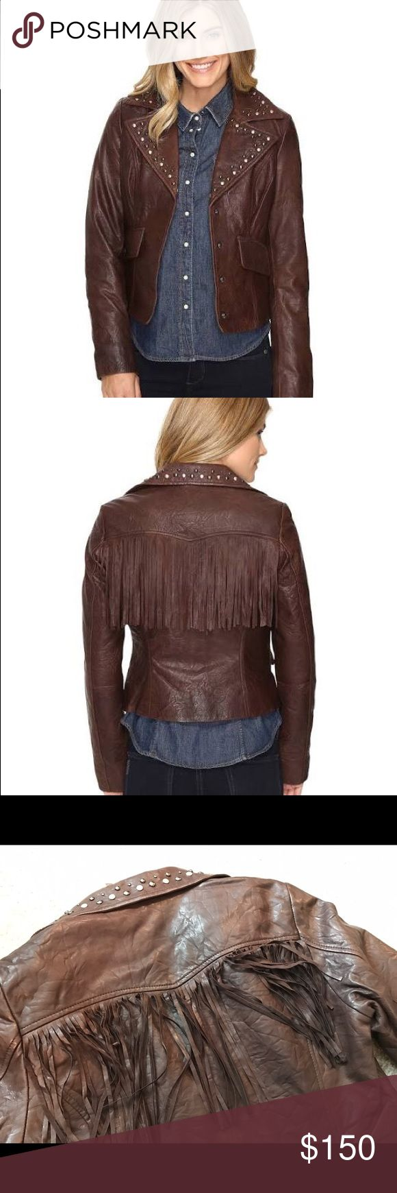 Stetson Crinkled Leather Jacket w/ Nailheads Tailored leather jacket features a buttery-soft distressed look with studded detail along collar and hanging fringe across back. Princess seams offer a feminine silhouette. Four-snap button front closure. Oversized notched lapel. Multi-toned metallic beading. Long sleeve coverage. Fully lined. Flap hand pockets. Western point back yoke. Curved cropped hem. 100% leather; Lining: 100% polyester. Stetson Jackets & Coats