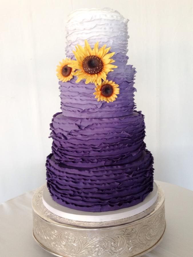 Purple Ombre and Sunflowers | Purple wedding cakes ...