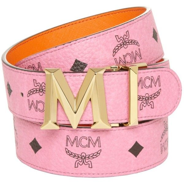 Mcm Belt - New M Auto Reversible ($320) ❤ liked on Polyvore featuring accessories, belts, pink, reversible belt, mcm, pink belt and mcm belt