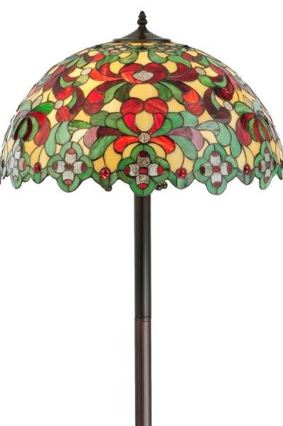 The Baroque Victorian-style Tiffany floral stained glass standing lamp is absolutely stunning.  One of the most beautiful stained glass floor lamps we carry.