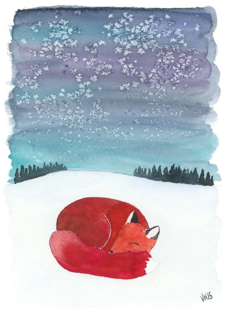 Fox Christmas card. A high quality print based on watercolor painting by Virpi Kivinen. #earlymorningwalk #fox #christmascard #finland #foxillustration