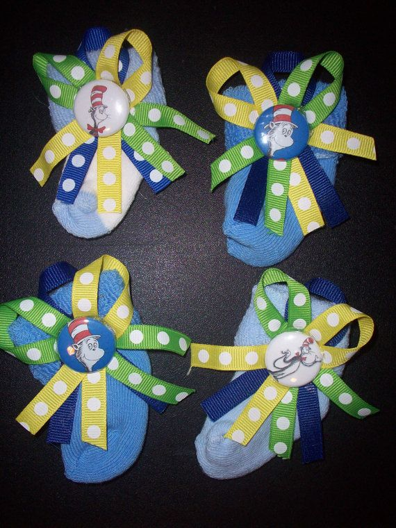 Blue Boys Dr Seuss Mini Sock Baby Shower Corsages by DebraTACrafts, $12.00