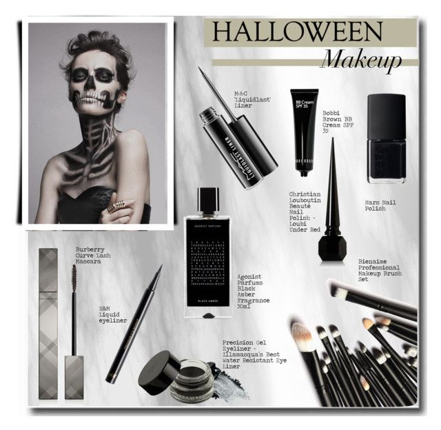 """Halloween Makeup"" by selangel ❤ liked on Polyvore featuring beauty, Burberry, Agonist, NARS Cosmetics, MAC Cosmetics, Gorgeous Cosmetics, Christian Louboutin, H&M, Bobbi Brown Cosmetics and Halloween"