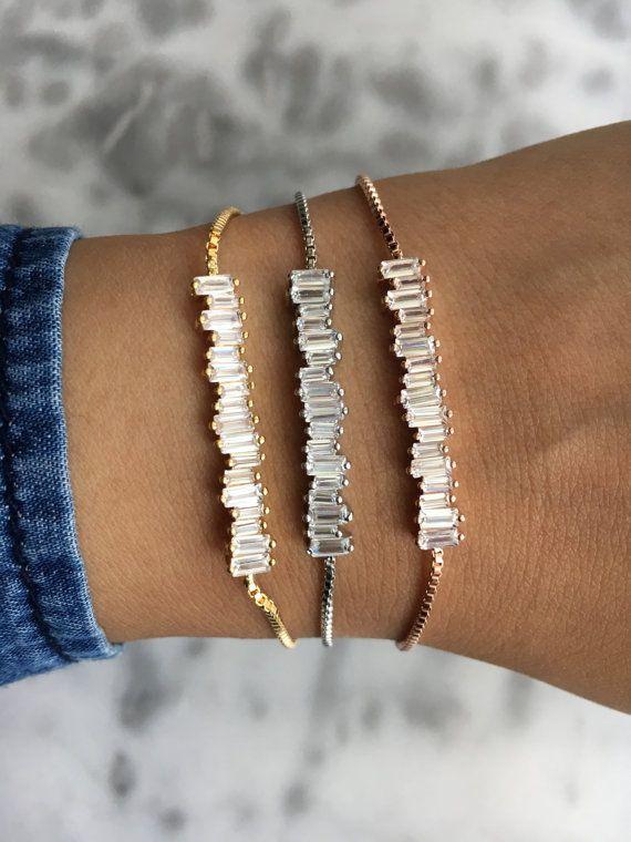 SCATTER Irregular Baguette Cut Crystal Adjustable Tennis Bracelet Available In Platinum, Gold Or Rose Gold