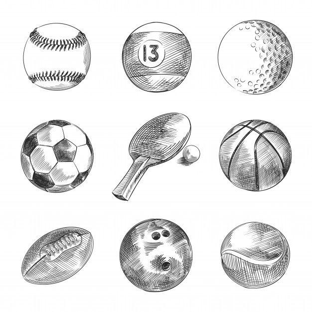 Hand Drawn Sketch Set Of Sport Balls Set Includes Billiard Ball Soccer Ball Tennis Ball Volleyball Ball Rugby Ball Table Tennis Ball Golf Ball Basketbal In 2020 Basketball Ball Rugby Ball Tennis