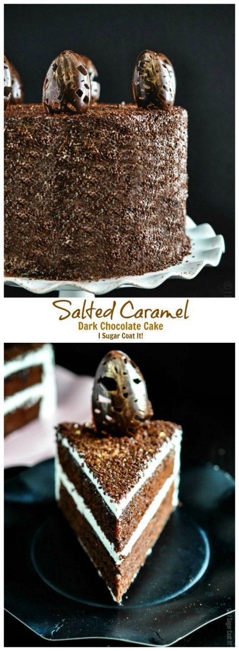Salted Caramel Dark Chocolate Cake. Four layers of rich salted caramel chocolate cake with Italian meringue buttercream and flakes. |isugarcoatit.com