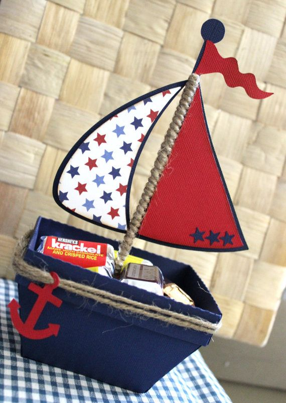 Boat - Nautical Favor Box - Treat Box - Set Of 10
