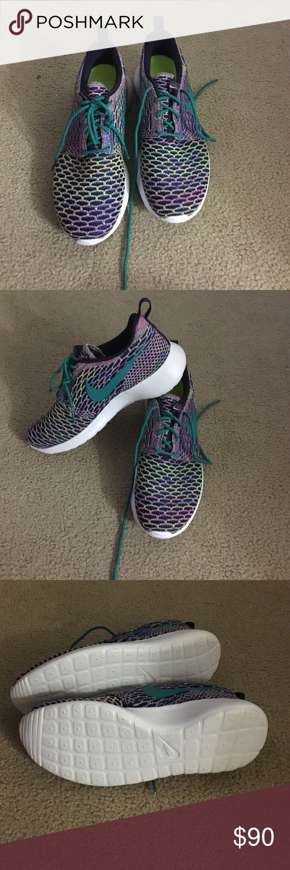 NEVER WORN Nike ID NEVER WORN Nike ID tennis shoes! Purple with neon, turquoise, and lime green accents. I think they look like mermaid scales ;) I bought them on here but they're too big for me! They say they're a size 7.5 but they fit more like an 8 or 8.5. Nike Shoes Athletic Shoes